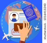 passport or visa application.... | Shutterstock . vector #1016413240