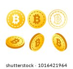 bitcoin. physical bit coin.... | Shutterstock .eps vector #1016421964