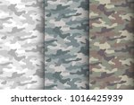 camouflage seamless pattern set.... | Shutterstock .eps vector #1016425939