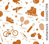 pattern with bicycle  rollers ... | Shutterstock .eps vector #1016427598