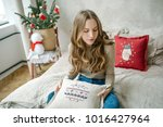 young beautiful curly hair...   Shutterstock . vector #1016427964