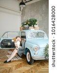 young beautiful caucasian woman ...   Shutterstock . vector #1016428000