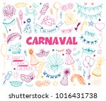 hand drawn carnival objects set ... | Shutterstock .eps vector #1016431738