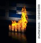 Greek economy crashes, burning graph against the flag of Greece - stock photo
