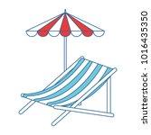 beach chair with umbrella | Shutterstock .eps vector #1016435350