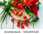 Ingredients for a fresh garden salad - stock photo