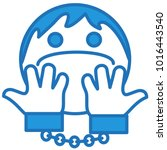 emoji with handcuffed man... | Shutterstock .eps vector #1016443540