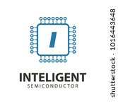 microchip line icon logo. cpu... | Shutterstock .eps vector #1016443648