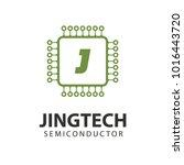 microchip line icon logo. cpu... | Shutterstock .eps vector #1016443720