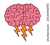 brain in side view with... | Shutterstock .eps vector #1016446090