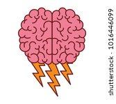 brain in top view with... | Shutterstock .eps vector #1016446099