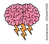 brain in side view with... | Shutterstock .eps vector #1016447650