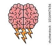 brain in top view with... | Shutterstock .eps vector #1016447656