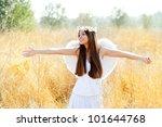 angel ethnic woman in golden... | Shutterstock . vector #101644768