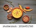Pumpkin Soup In Ceramic Bowl O...