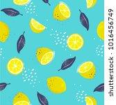 lemons  seamless pattern.... | Shutterstock .eps vector #1016456749