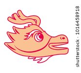 cute head orange dragon  animal ... | Shutterstock .eps vector #1016458918