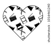 label heart with film movie...   Shutterstock .eps vector #1016461240
