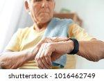 senior man exercise at home...   Shutterstock . vector #1016462749