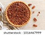 overhead view og pecan pie   pi ... | Shutterstock . vector #1016467999