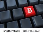 computer keyboard with bitcoin... | Shutterstock . vector #1016468560