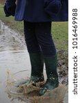'hello rainy days ' girl...   Shutterstock . vector #1016469988