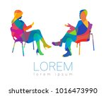 the people talk. counselling or ... | Shutterstock .eps vector #1016473990