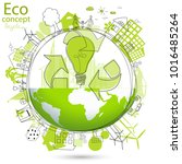 environmentally friendly world. ... | Shutterstock .eps vector #1016485264
