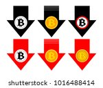 bitcoin rate falling color icon.... | Shutterstock .eps vector #1016488414