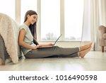 useful device. adorable teenage ... | Shutterstock . vector #1016490598