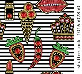 seamless pattern with patches... | Shutterstock .eps vector #1016502850