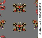 seamless pattern with patches... | Shutterstock .eps vector #1016502853