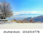 the scene of a snowy morning  | Shutterstock . vector #1016514778