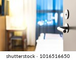 hotel room door open. clean and ... | Shutterstock . vector #1016516650