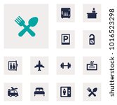 set of 12 travel icons set.... | Shutterstock . vector #1016523298