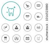 set of 12 teeth icons set.... | Shutterstock .eps vector #1016523880