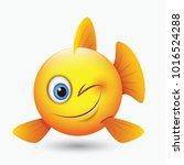 cute winking fish emoticon ... | Shutterstock .eps vector #1016524288