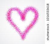 pink heart painted watercolor... | Shutterstock .eps vector #1016533618