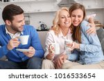 young family with mother in law ... | Shutterstock . vector #1016533654