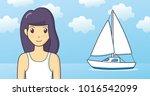 girl on summer sea and sky... | Shutterstock .eps vector #1016542099