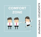 businesswoman exit from comfort ... | Shutterstock .eps vector #1016545474