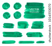 green watercolor brush strokes. ... | Shutterstock .eps vector #1016553070