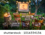 summer cinema with retro... | Shutterstock . vector #1016554156