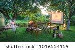 summer cinema with retro... | Shutterstock . vector #1016554159