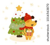 illustration of yellow dog with ... | Shutterstock . vector #1016563870
