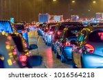 night view busy uk motorway... | Shutterstock . vector #1016564218
