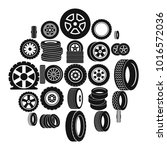 car tire logo icons set. simple ... | Shutterstock .eps vector #1016572036