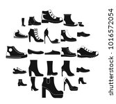 footwear shoes icon set. simple ... | Shutterstock .eps vector #1016572054
