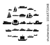 boat icons set. simple... | Shutterstock .eps vector #1016572348