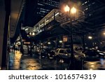 chicago city street scene in... | Shutterstock . vector #1016574319